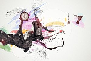 A water colour depicting a clock, birdhouse and bird signifying innovation and change
