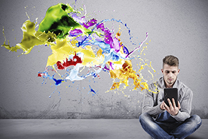 Concept of Creative technology with a boy with a tablet