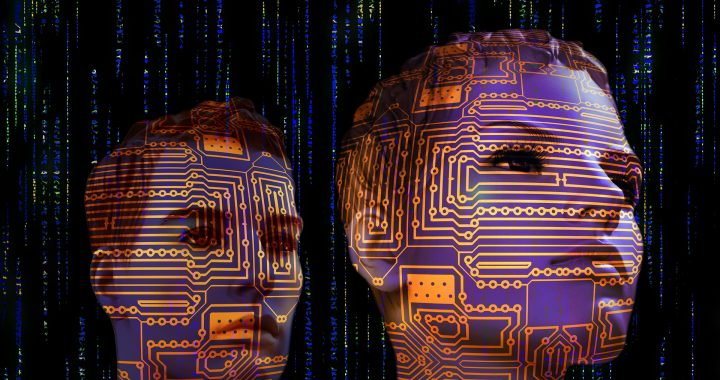 A man and a woman with binary digits across their faces signifying machine learning