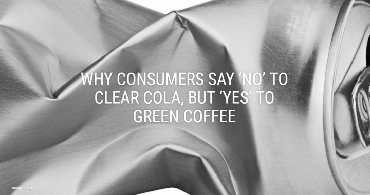 Crushed cola can depicting Why consumers say no to clear cola but yes to green coffee